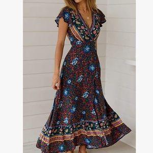 - - Bohemian Maxi Dress Wrap Dress